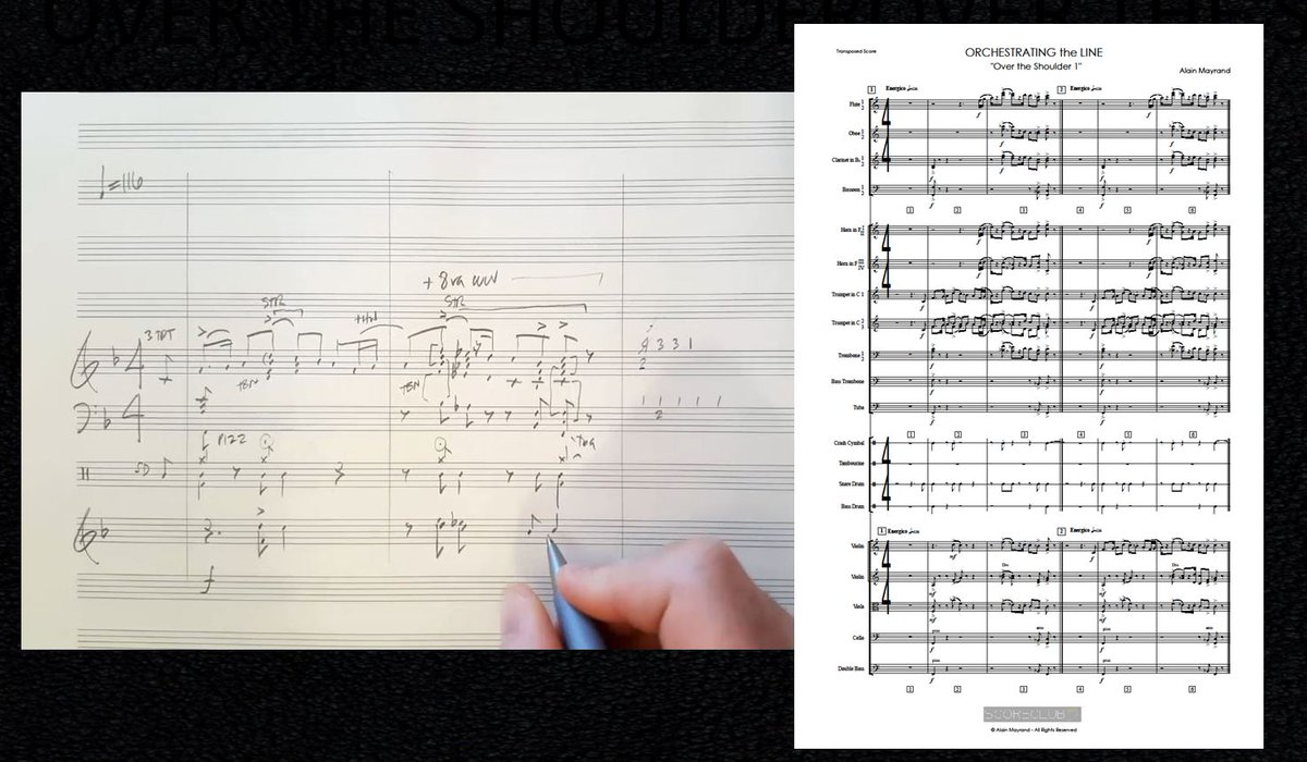 From &quot;Orchestrating the Line&quot;: final &quot;Over the Shoulder&quot; lessons. From SKETCH to full score. #filmscoring #orchestra  http:// ow.ly/k7Wh30a3WeK  &nbsp;  <br>http://pic.twitter.com/7hLkXREz7r