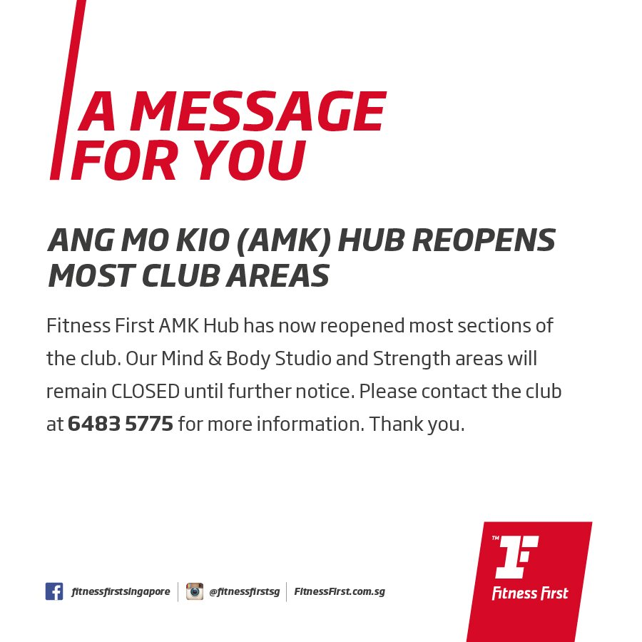 fitness first sg fitnessfirstsg twitter dear members amk hub is open except our mind body studio and strength areas we will keep you updated fitnessfirst com sg clubs amk hub
