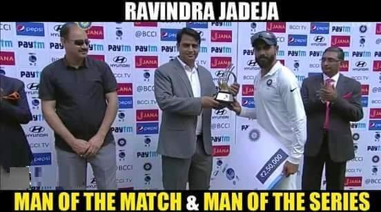 Ravindra Jadeja As Man Of The Match And Man Of The Series.