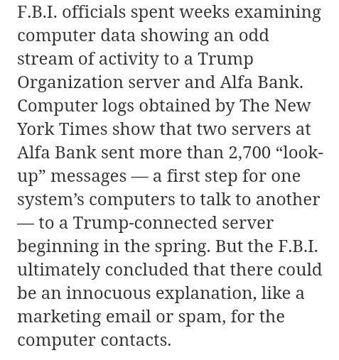 F.B.I. officials spent weeks examining computer data showing odd stream of activity to #Trump Organization server &amp; Alfa Bank  #TrumpRussia <br>http://pic.twitter.com/W379Bw62pd