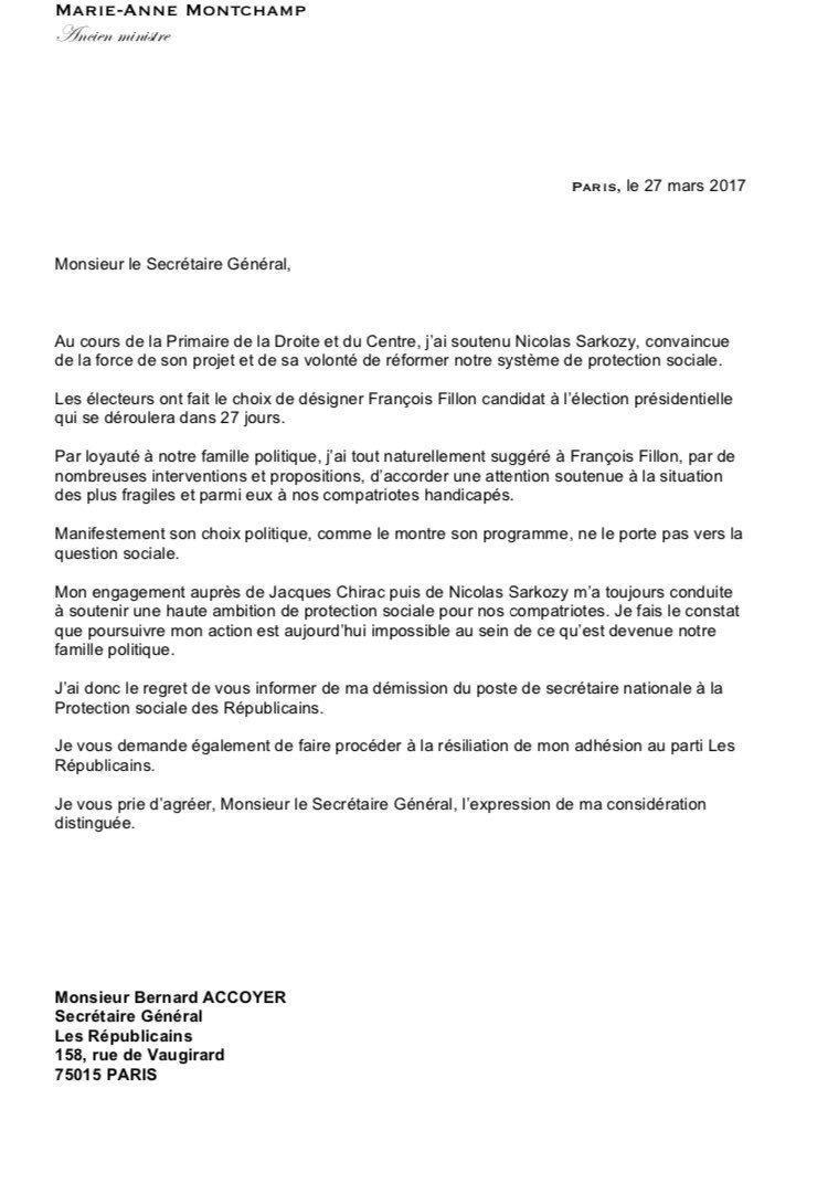 La lettre de démission de Marie-Anne Montchamp @mamontchamp, ancienne min sarkozyste qui quitte LR et rallie #Macron @BFMTV<br>http://pic.twitter.com/3LSXBqsjxq