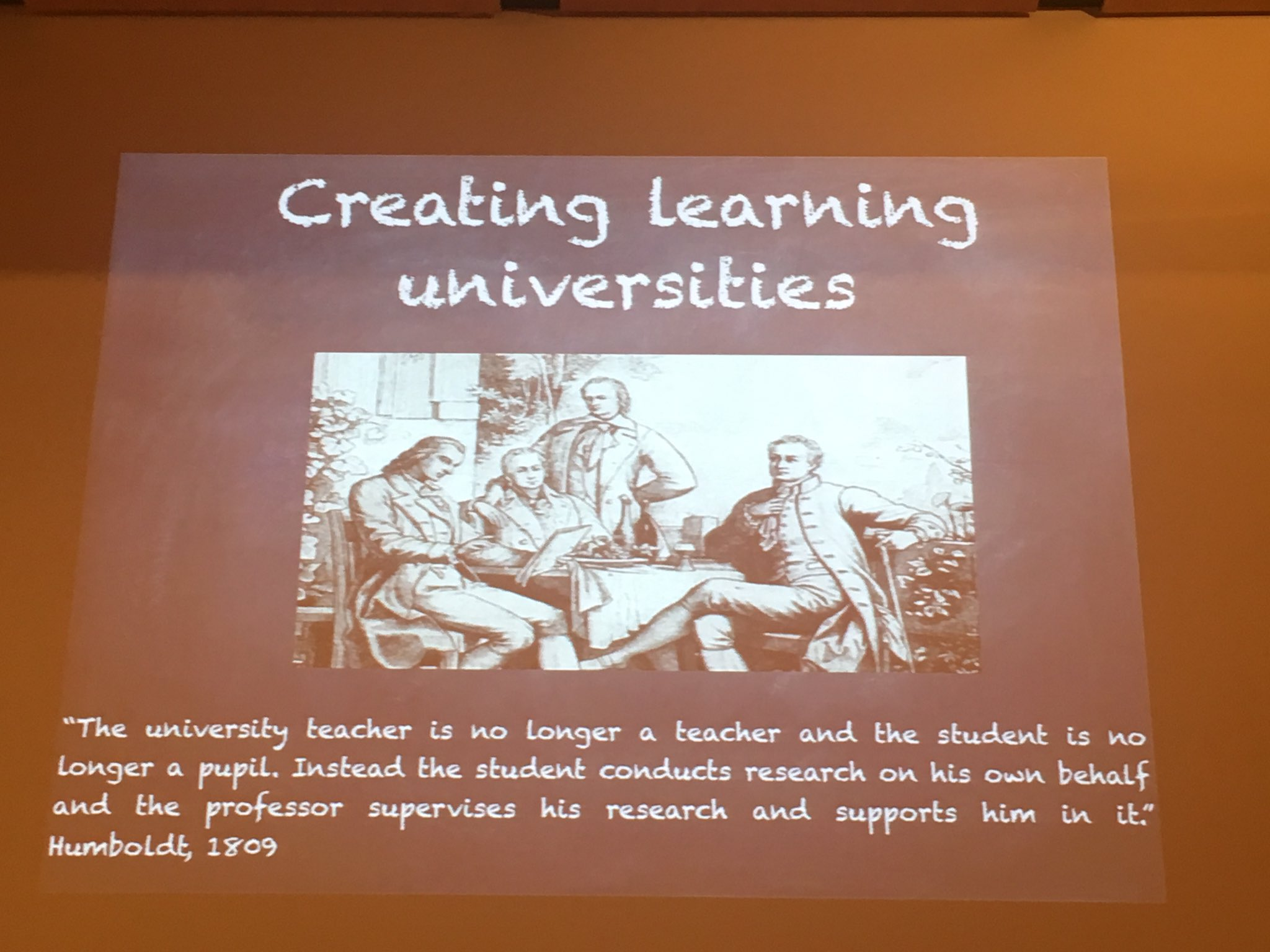 #RnDedu @FrancoisTaddei The goal is to create learning universities where the teacher & pupils are no longer teacher & pupils https://t.co/Ec0UkXw3og