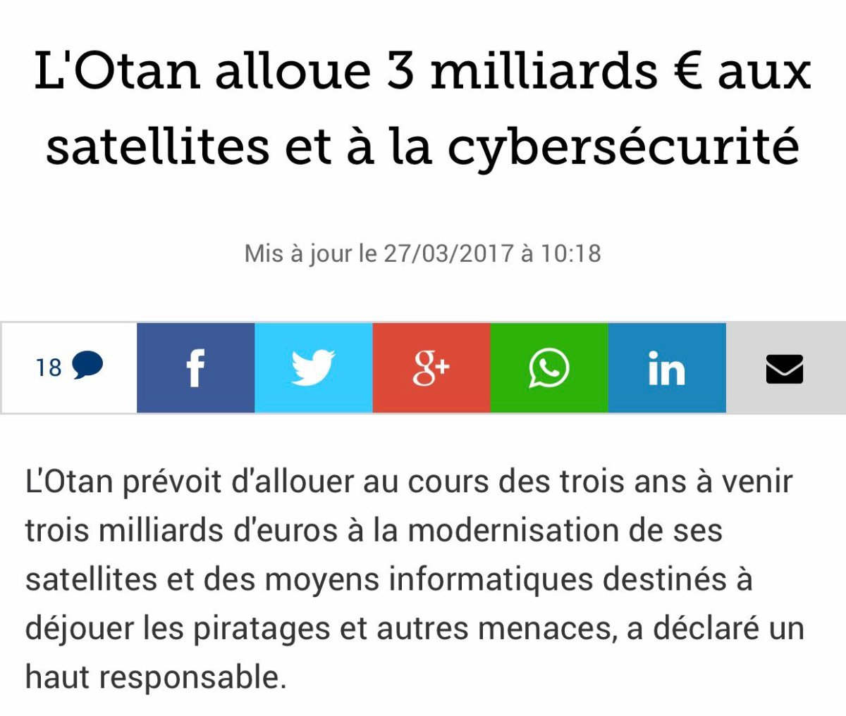 L&#39;#Otan alloue 3 milliards d&#39;€ aux satellites et à la #cybersécurité. #hackers #cyberattaques @Le_Figaro  http://www. lefigaro.fr/flash-eco/2017 /03/27/97002-20170327FILWWW00076-l-otan-alloue-3-milliards-aux-satellites-et-a-la-cybersecurite.php &nbsp; … <br>http://pic.twitter.com/camZN1GkGP