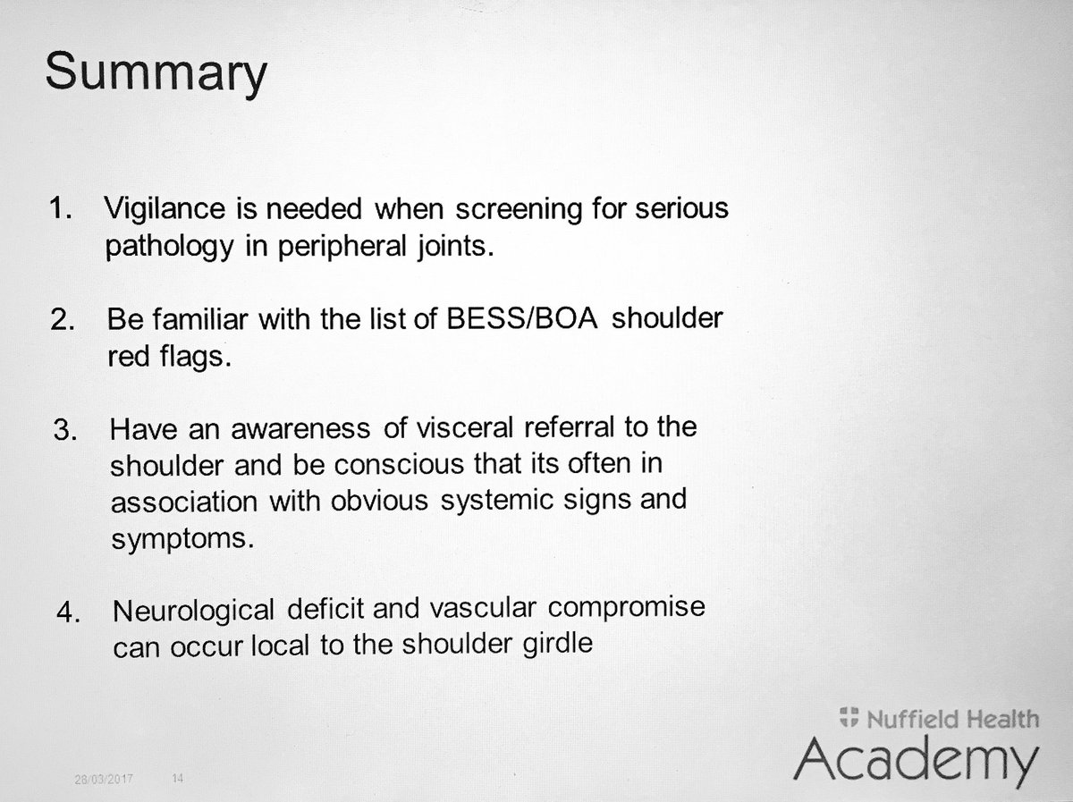 Some key learns from today&#39;s excellent @NuffieldHealth Physiotherapy webinar program on Shoulder #redflags and masqeraders. #vigilence <br>http://pic.twitter.com/gt39R9yhjO