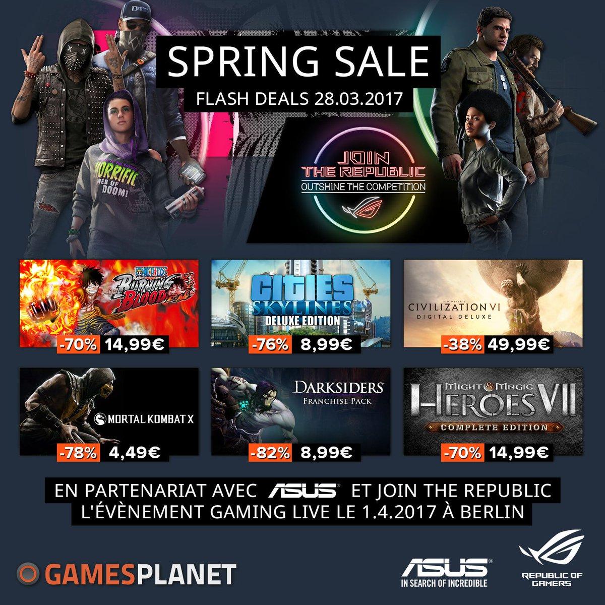 Deuxième jour des #Soldes de #Printemps chez @GamesplanetFR   https:// fr.gamesplanet.com/promo/springsa le?ref=rackboy &nbsp; … <br>http://pic.twitter.com/Epe1yS8nEu