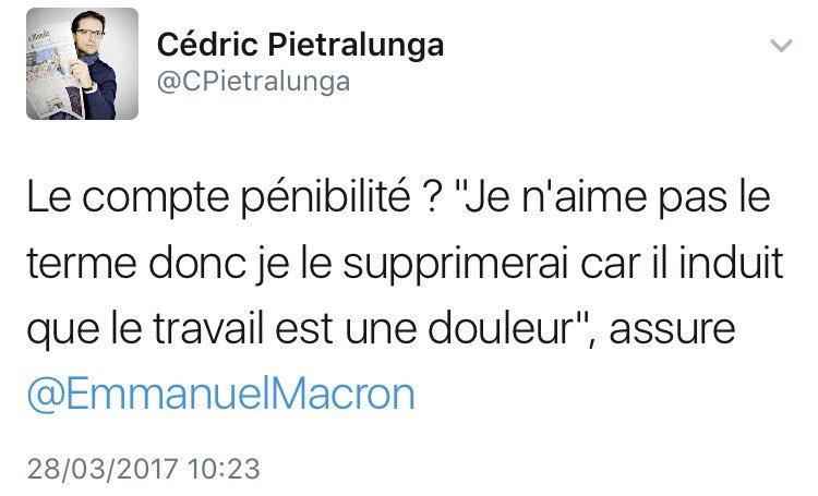 #Macron veut supprimer le terme &quot;pénibilité&quot; car il &quot;induit que le travail est une douleur&quot;. Quelques exemples récents... #Medef<br>http://pic.twitter.com/AK9GngHO0d