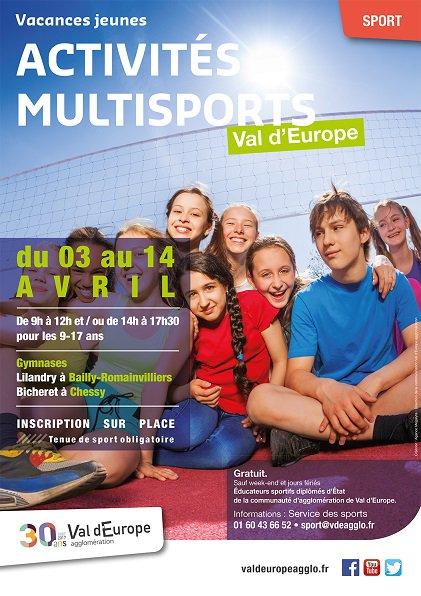 """Du 3 au 14 avril, <a href=""""https://twitter.com/ValdEuropeagglo"""" target=""""_blank"""">@ValdEuropeagglo</a> organise des activités multisports gratuites pour les 9-17ans. Infos: 01.60.43.66.52 ou sport@vdeagglo.fr https://t.co/RSpWir2pkG"""