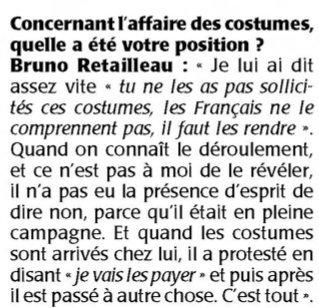 Selon @BrunoRetailleau, #Fillon n&#39;aurait pas eu &quot;la présence d&#39;esprit&quot; de refuser des costumes. Ca promet face à #Trump ou #Poutine.. <br>http://pic.twitter.com/viKw882OOZ