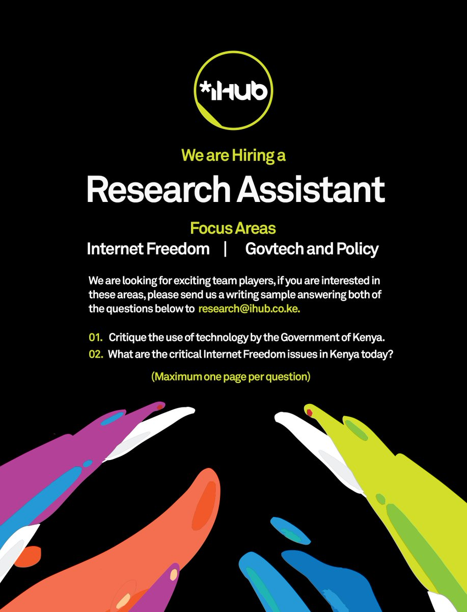 Job Alert! We're on the look out for an awesome research assistant. Is that you? #iHubjobs https://t.co/LSk7UxBil5