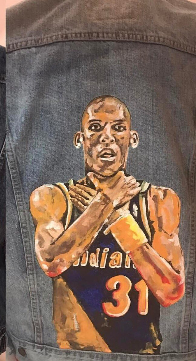 39195a59f22cd wife of pacers thad young commissions reggie miller choke painting on denim  jacket via