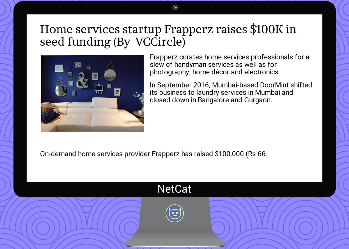 #startup #summary:  #home  #services  #startup  #frapperz raises $100k in  #seed  #funding<br>http://pic.twitter.com/vr1t44uN7c
