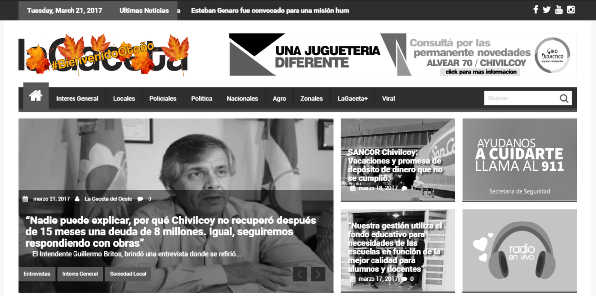 #lagaceta le da la bienvenida al #Otoño modificando su logo x un dia @carogaspa @flaviofulvioOK @flavioycaro<br>http://pic.twitter.com/jQEPUkyZJW