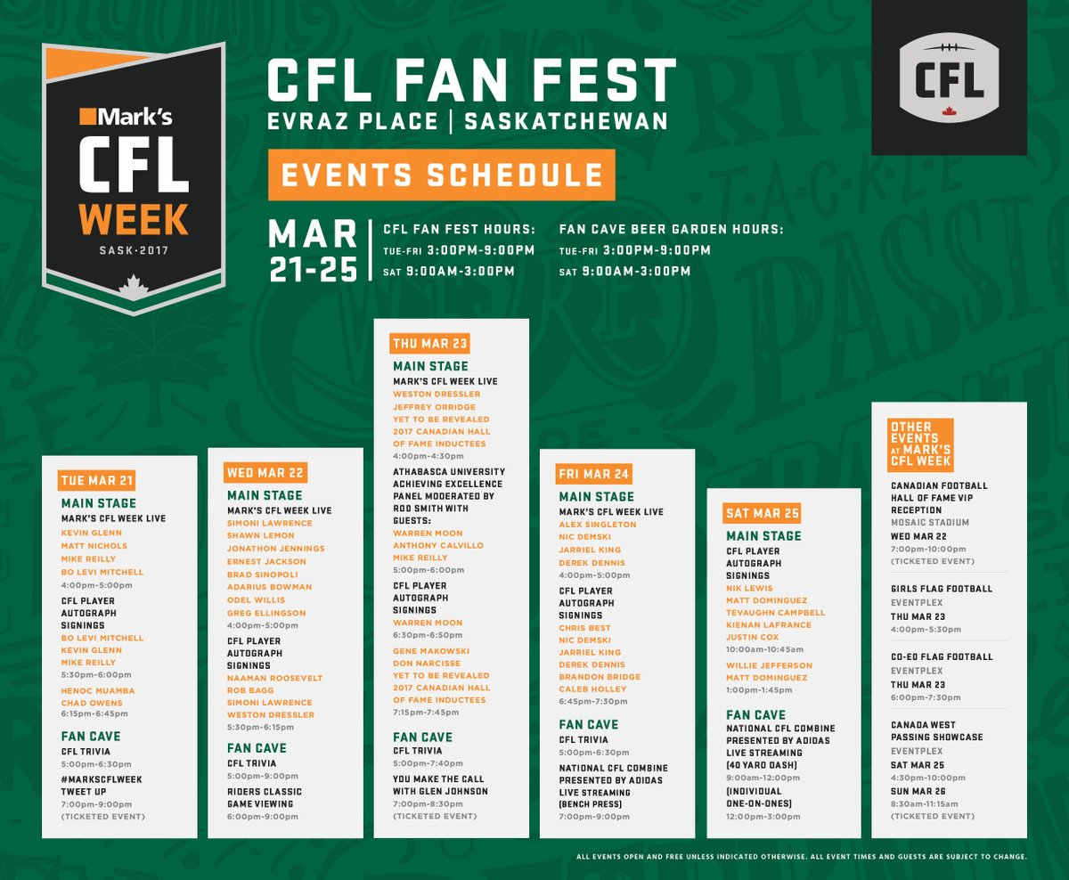 It all begins today!  See you at #MarksCFLWeek Everyone!  Full details...