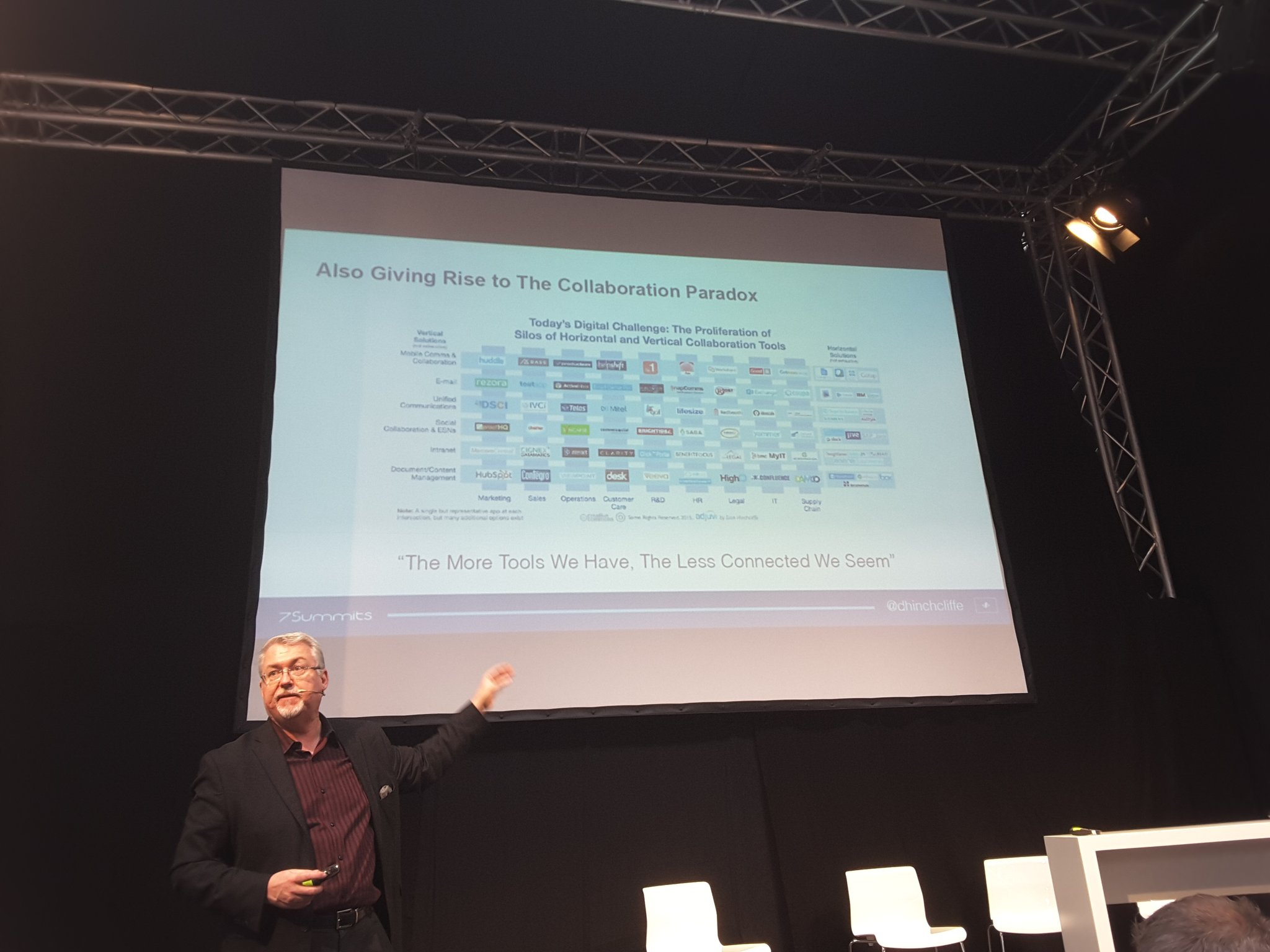 "@dhinchcliffe The Collaboration Paradox: ""The more tools we have the less connected we seem"" - the hub model might help... #cebiteda https://t.co/skaAxQWJP2"