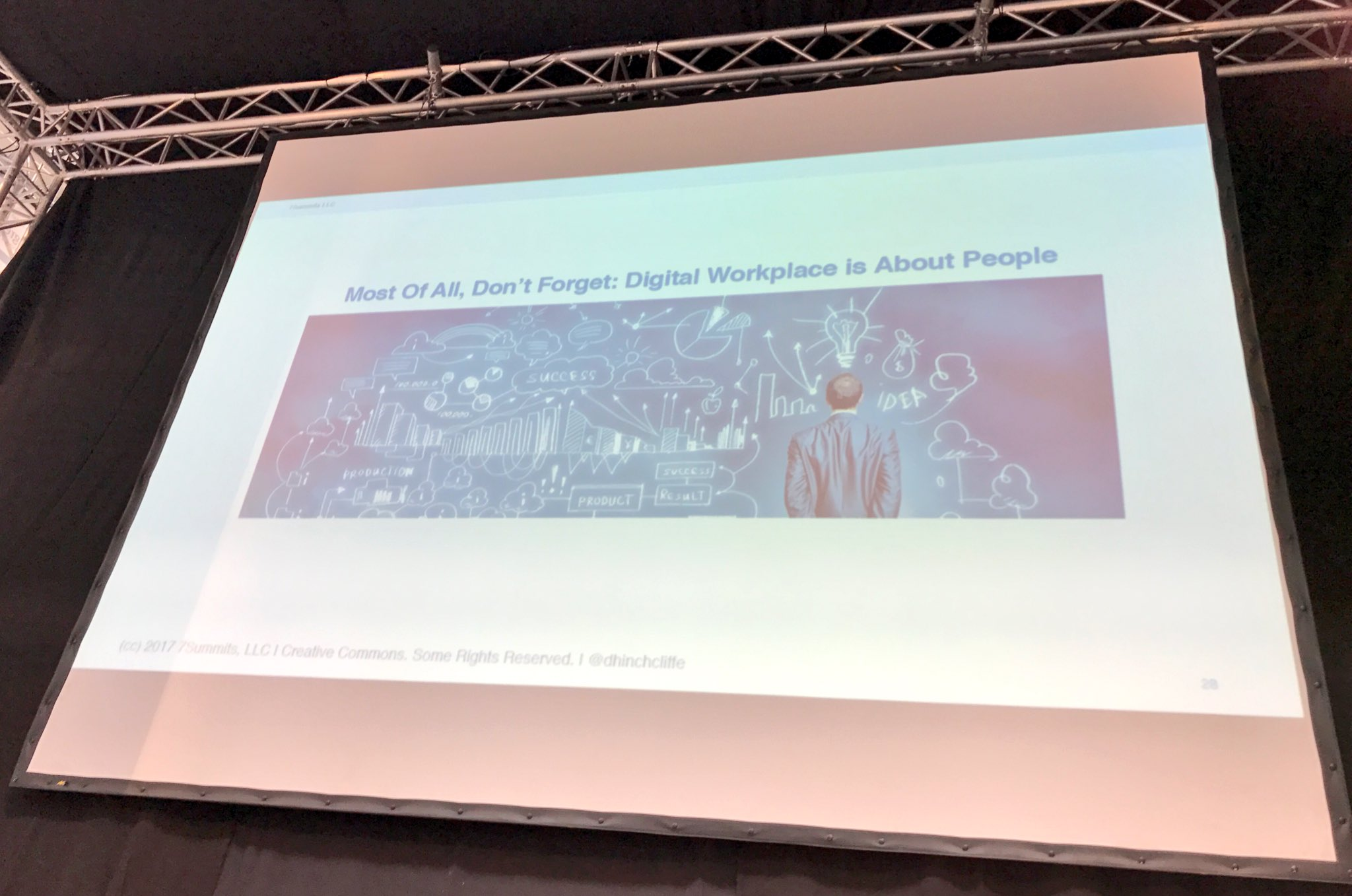 "A slide that speaks for itself: ""#DigitalWorkplace is about People"" emphasizes @dhinchcliffe #cebiteda #CeBIT17 https://t.co/VpmBd5dej0"
