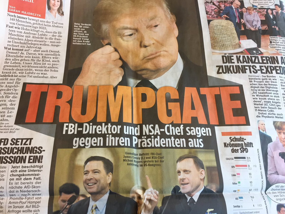 Anyone else calling it #Trumpgate yet? @BILD headline on Comey/Rogers testimony<br>http://pic.twitter.com/9lEInGob7L