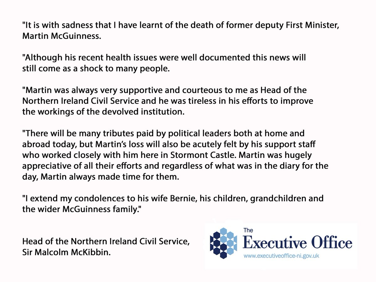 Statement from Sir Malcolm McKibbin, on the death of Martin McGuinness https://t.co/WWqwTrQjTS