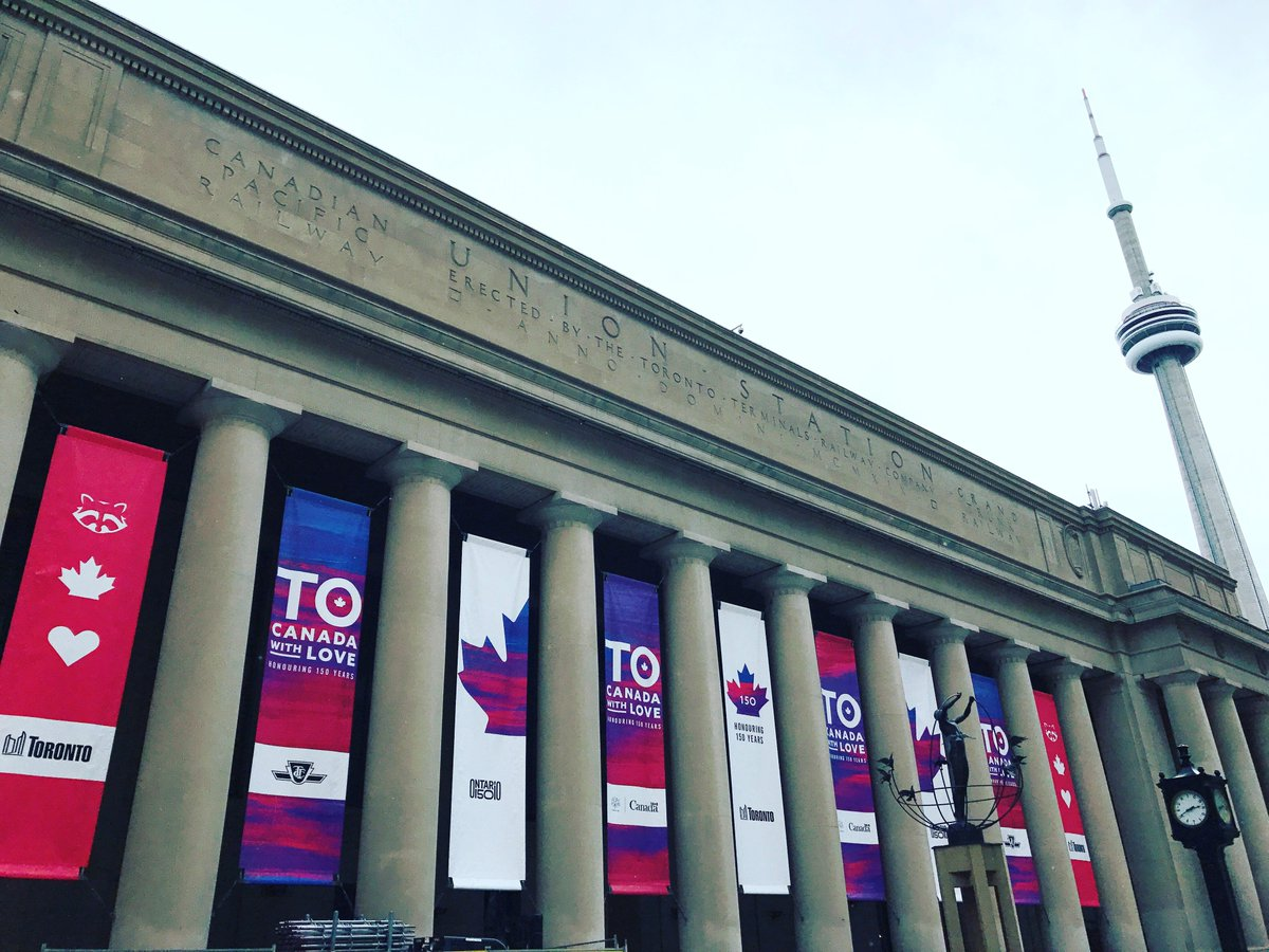 Banners by ICON Visual at Union Station in Toronto celebrating Canada's 150th Birthday! #icondigital #allthingsvisual #toronto