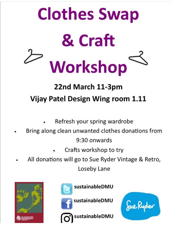 Don't forget to come along to our Clothes Swap Shop & Craft Workshop tomorrow as part of #DMUearthweek 🌏 @dmuleicester @demontfortsu https://t.co/fHNfp5ssOQ