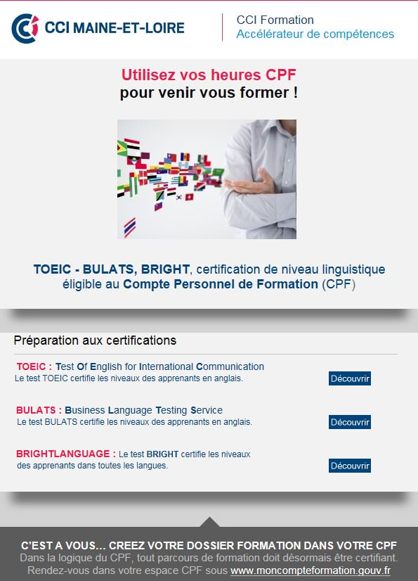 Besoin d&#39;une certification linguistique #TOEIC #BULATS #BRIGHT ? Utilisez vos heures #CPF pour vous former ! &gt;  http:// ow.ly/NweP309I9r9  &nbsp;  <br>http://pic.twitter.com/ys2AFR8cDN