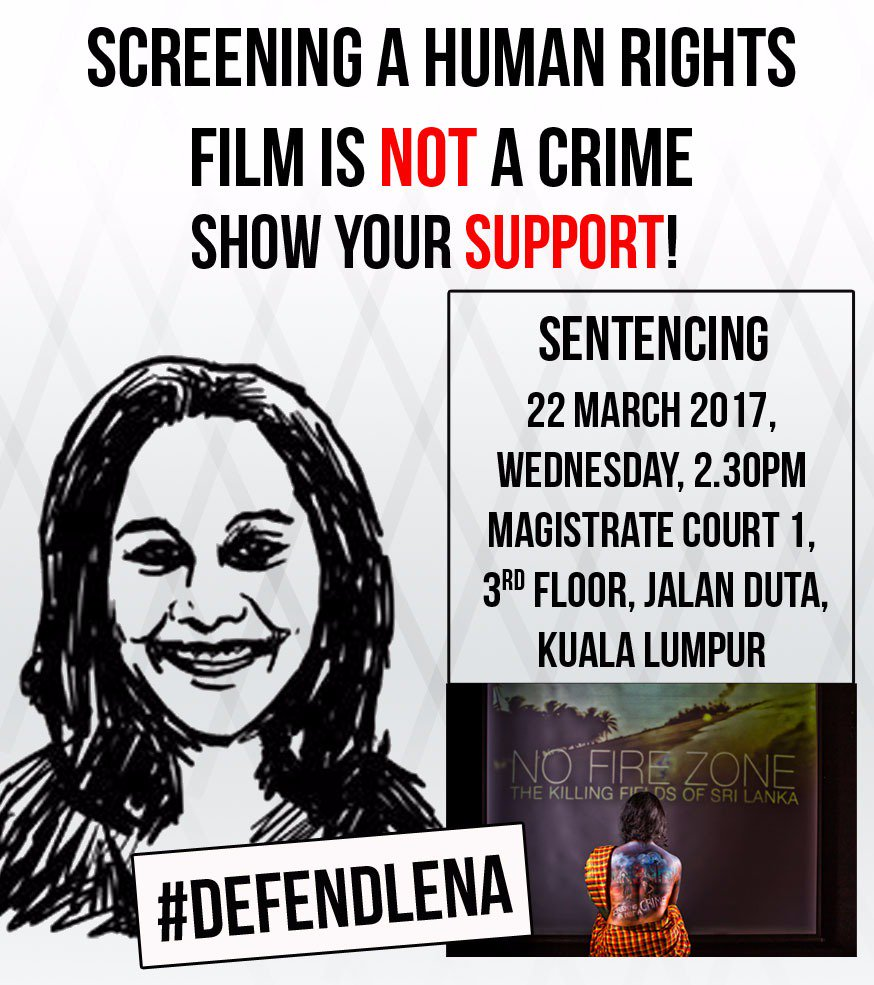 Screening a human rights film is NOT a crime. Show your support #DEFENDLENA https://t.co/txjEZCko6j