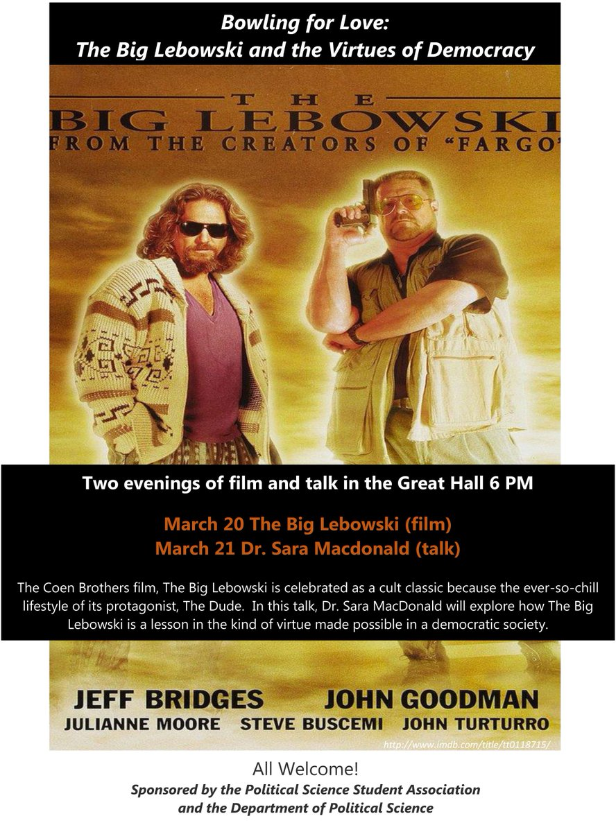 barry craig huron principal twitter tonight we re talking all things lebowski dude and democracy join us at 6 in the great hall pic com r17lun4e87