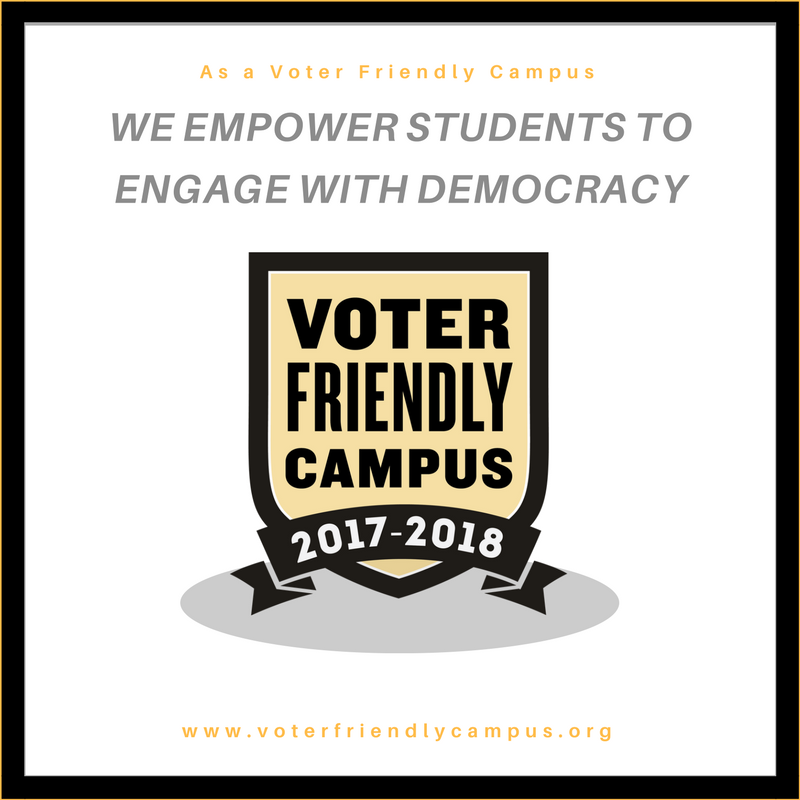 We are officially designated a #VoterFriendlyCampus. Happy to work with @CampusVote and @NASPAtweets on this great initiative! #Engage https://t.co/dGYxWLg6mq
