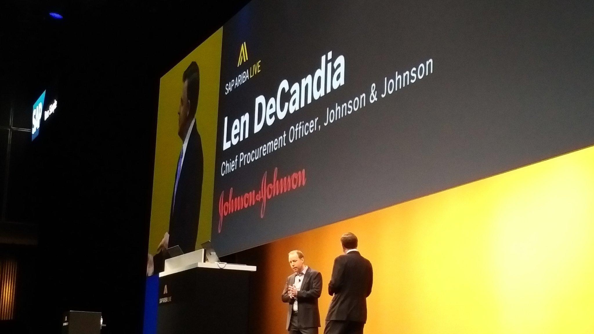 Next up -  DeCandia - @JNJNews @JNJInnovation on what they do with @SAPAriba #SAPARIBALIVE https://t.co/gW1sJvmjIJ