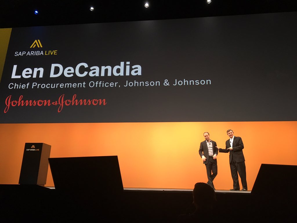 """""""We've doubled our compliance in 6 mths, our partnership is at the core,"""" Len DeCandia, CPO, J&J #SAPARIBALIVE https://t.co/uLiAFSpE1f"""