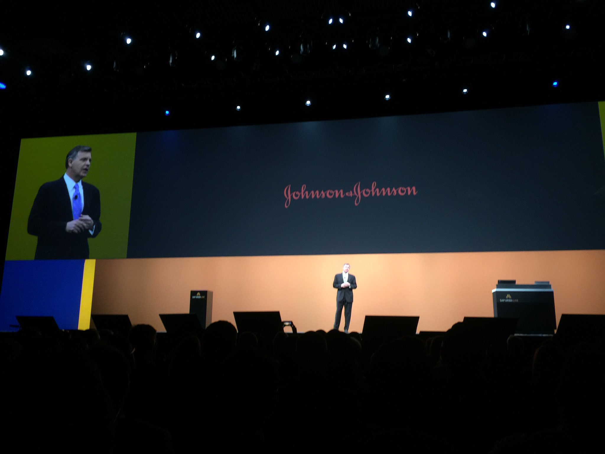 In six months after going live, Johnson and Johnson sees 1/2 of spend ($7.5B) through Ariba. #SAPARIBALIVE https://t.co/kwiQX2v2t1