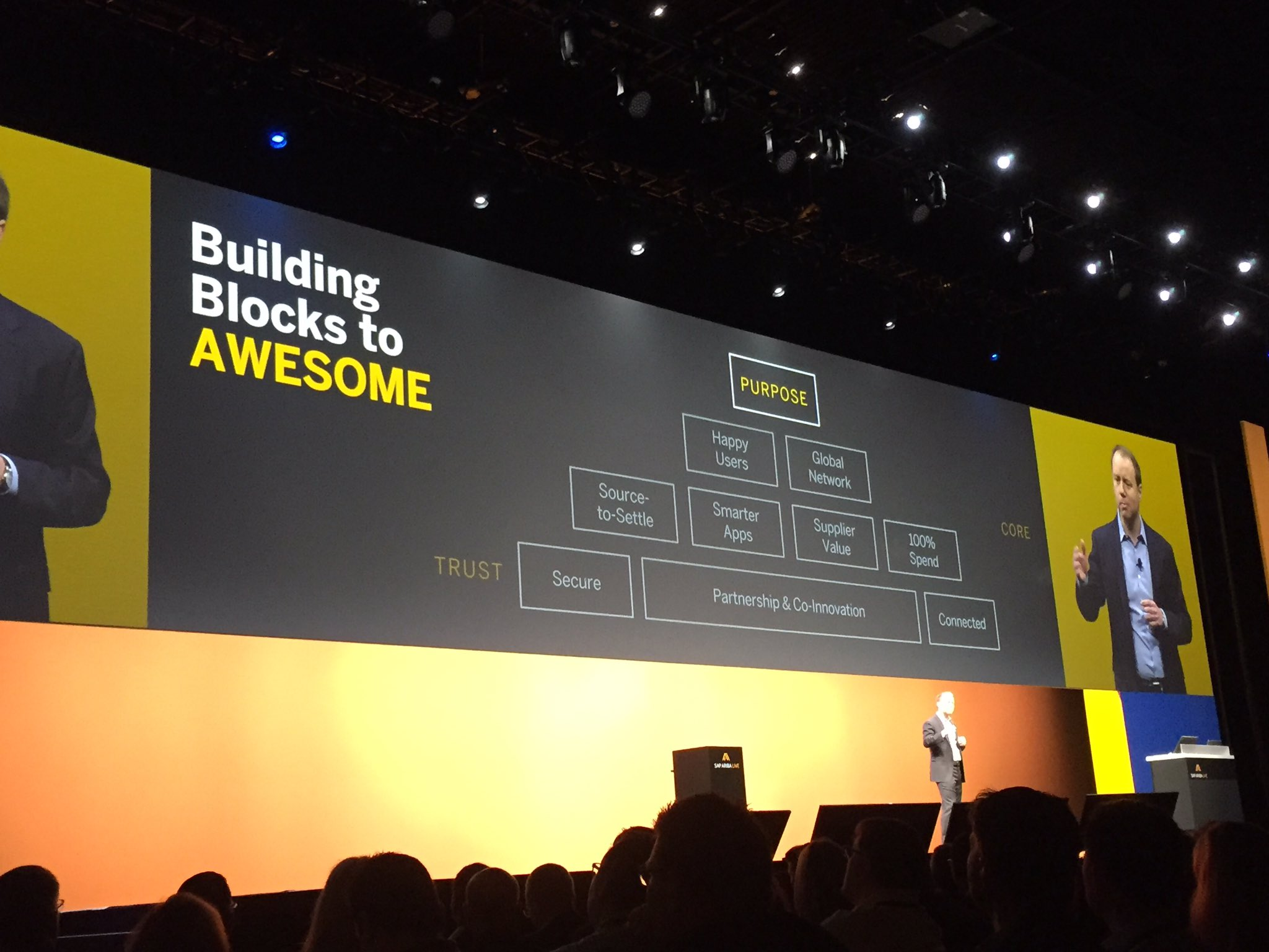"""@aatzberger talks about the building blocks to awesome. """"Trust is critical in today's work."""" #makeprocurementawesome  #SAPARIBALIVE https://t.co/MegKgTrBD2"""