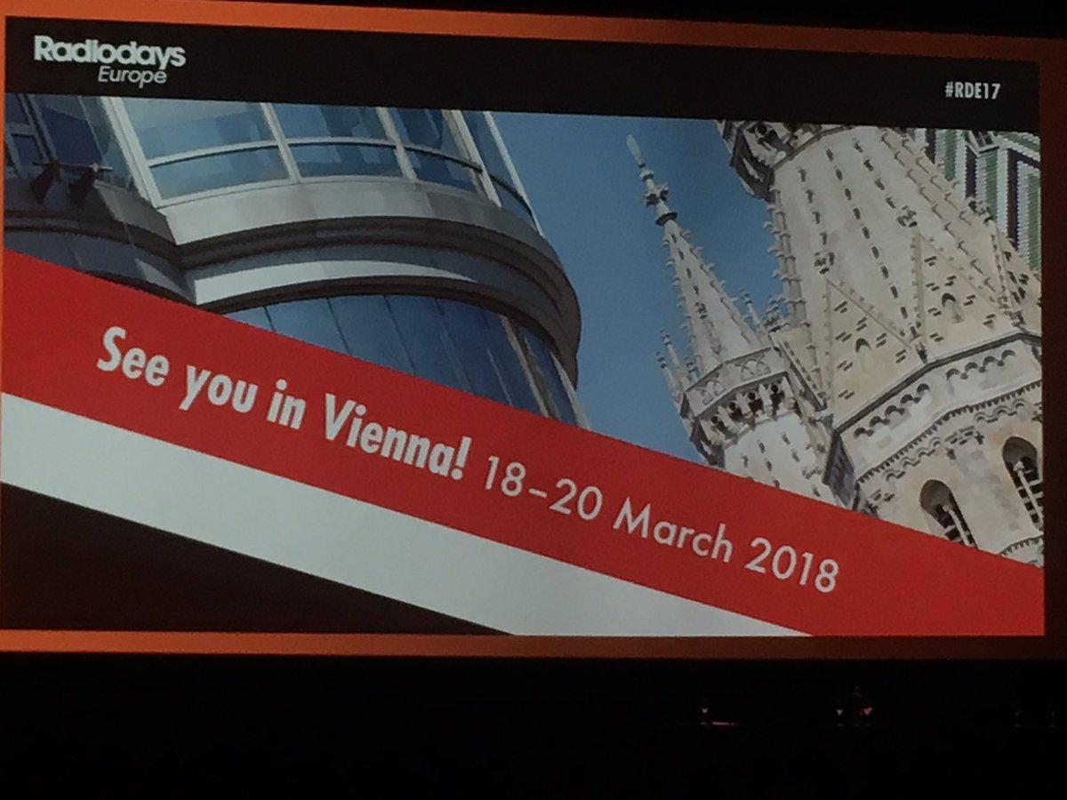 @RadiodaysEurope #RDE17 Next year in #Viena. See you soon #RDE18<br>http://pic.twitter.com/5v0sMyEuh6