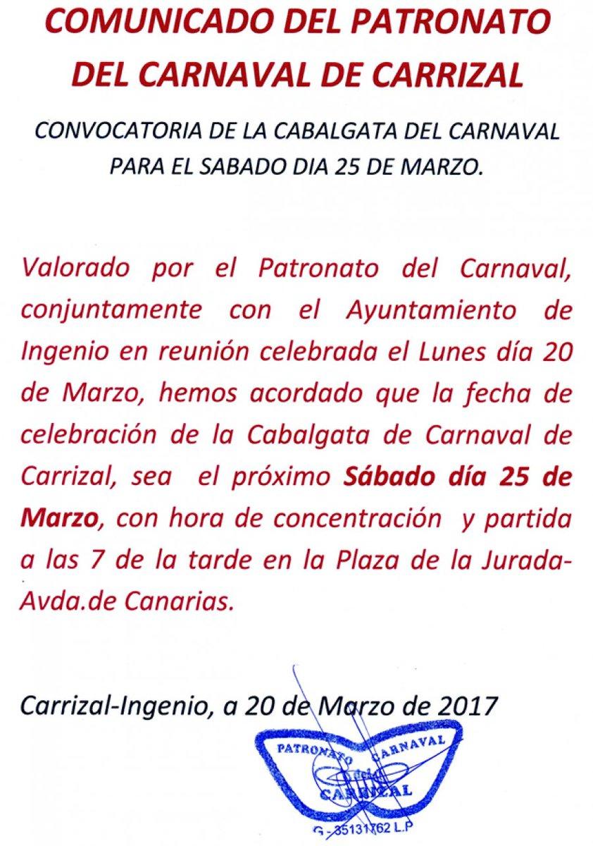 La gran #Cabalgata del #Carnaval de #Carrizal se retoma para el próximo sábado, 25 de marzo a las 19:00 h.<br>http://pic.twitter.com/YS9AXAdPr3
