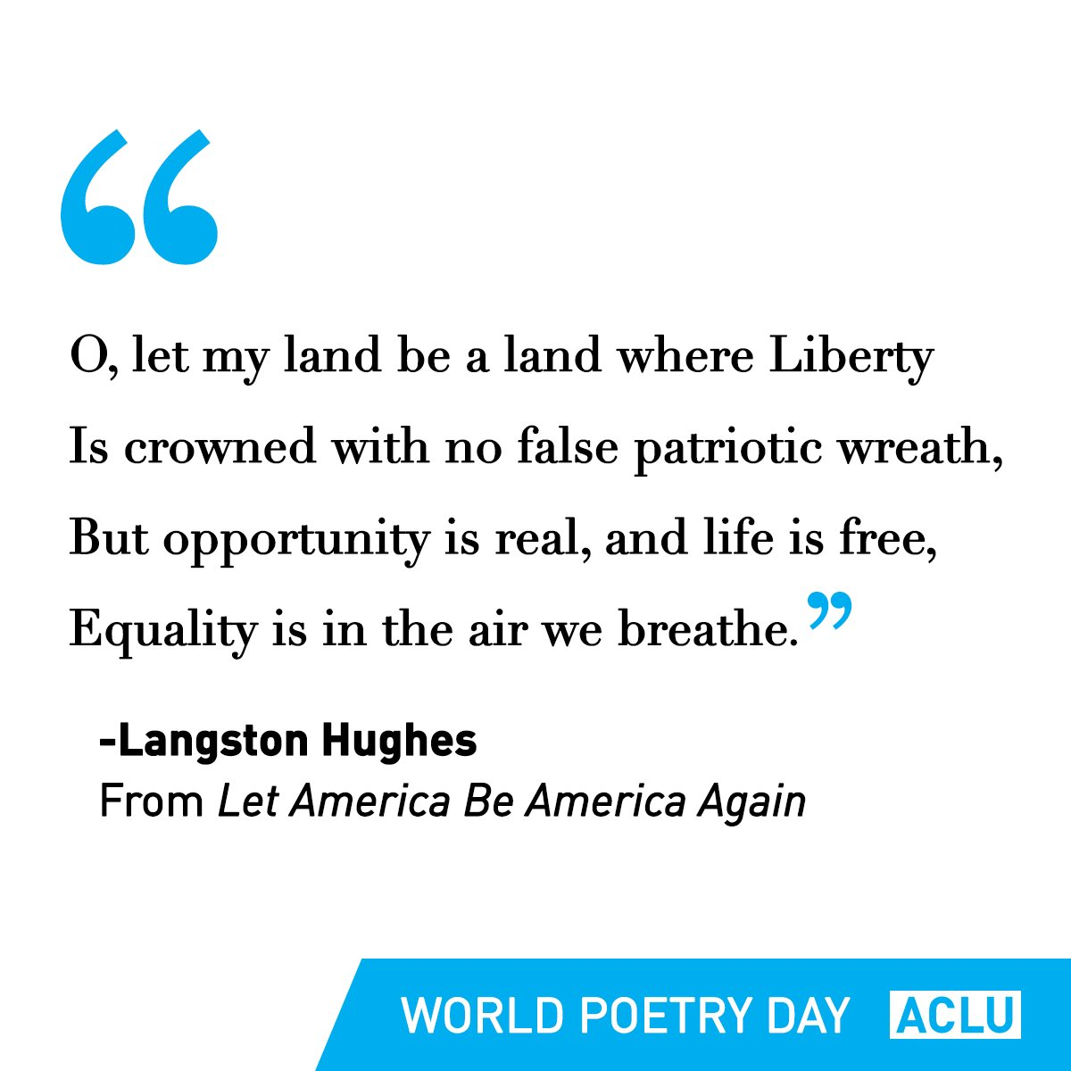 Happy #WorldPoetryDay! We wouldn't hate it if you wrote the ACLU a poe...