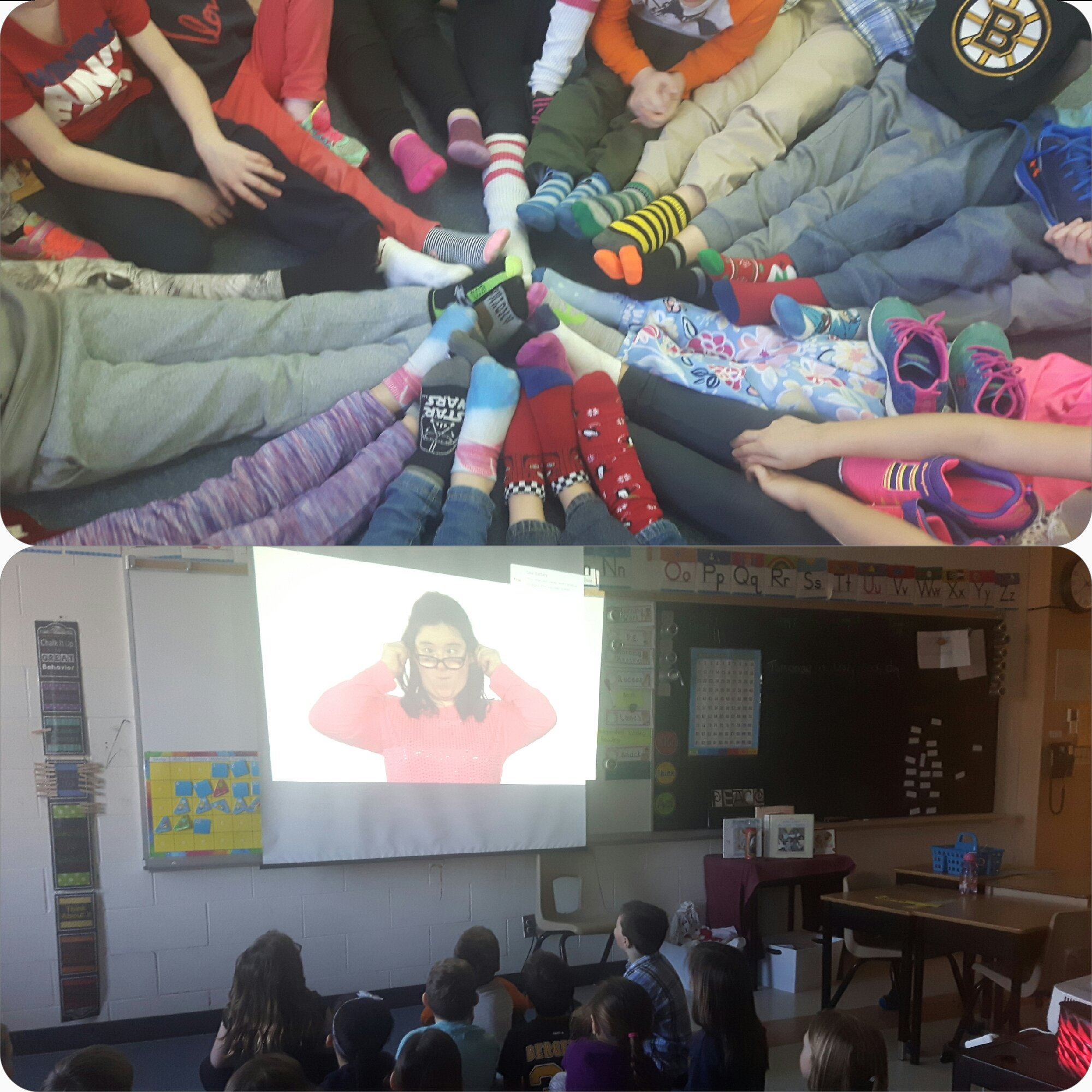 Ms. Hendy's class celebrating and learning about World Down Syndrome day #rockyoursocks https://t.co/L0FRDLfCDn