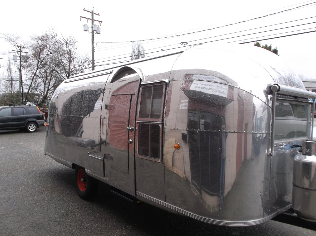 Apollo Food Trucks On Twitter Beginning The Interior Skinning Of Vintage Trailer Another Airstream Pulls In For Conversion To A Mexican