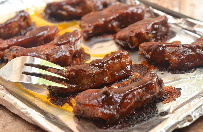 Oven-Baked Baby Back Ribs with Coffee Whiskey Barbecue Sauce