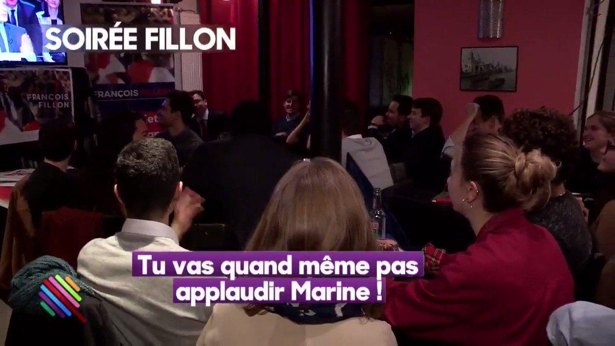 Des supporters #Fillon applaudissent Marine Le Pen lorsqu'elle attaque #Macron sur le #Burkini. #DebatTF1