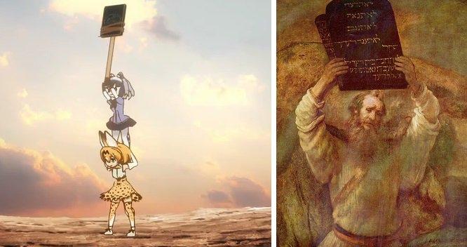 シナイ山の山頂に神が現れ、モーセは山に登って十戒を受け、ヘブライ人と契約を交わした。その場面のパロディ。旧約聖書『出エジプト記』20-24章 #けものフレンズ #kemono_friends https://t.co/KjEutueGNx