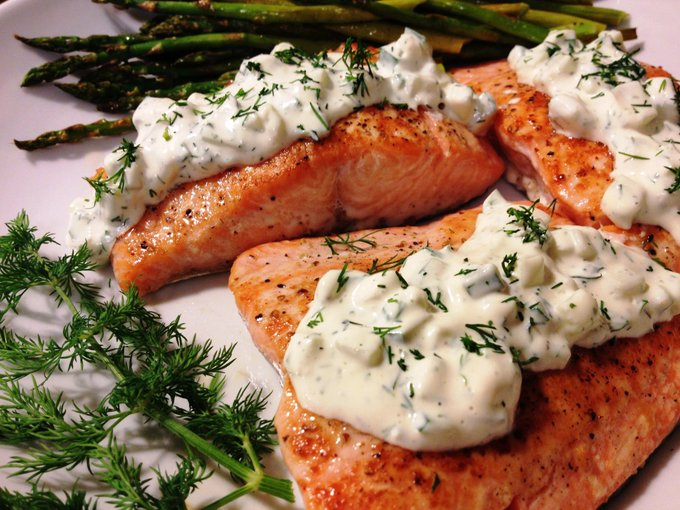 Cucumber Dill Salmon recipe from A Gouda Life