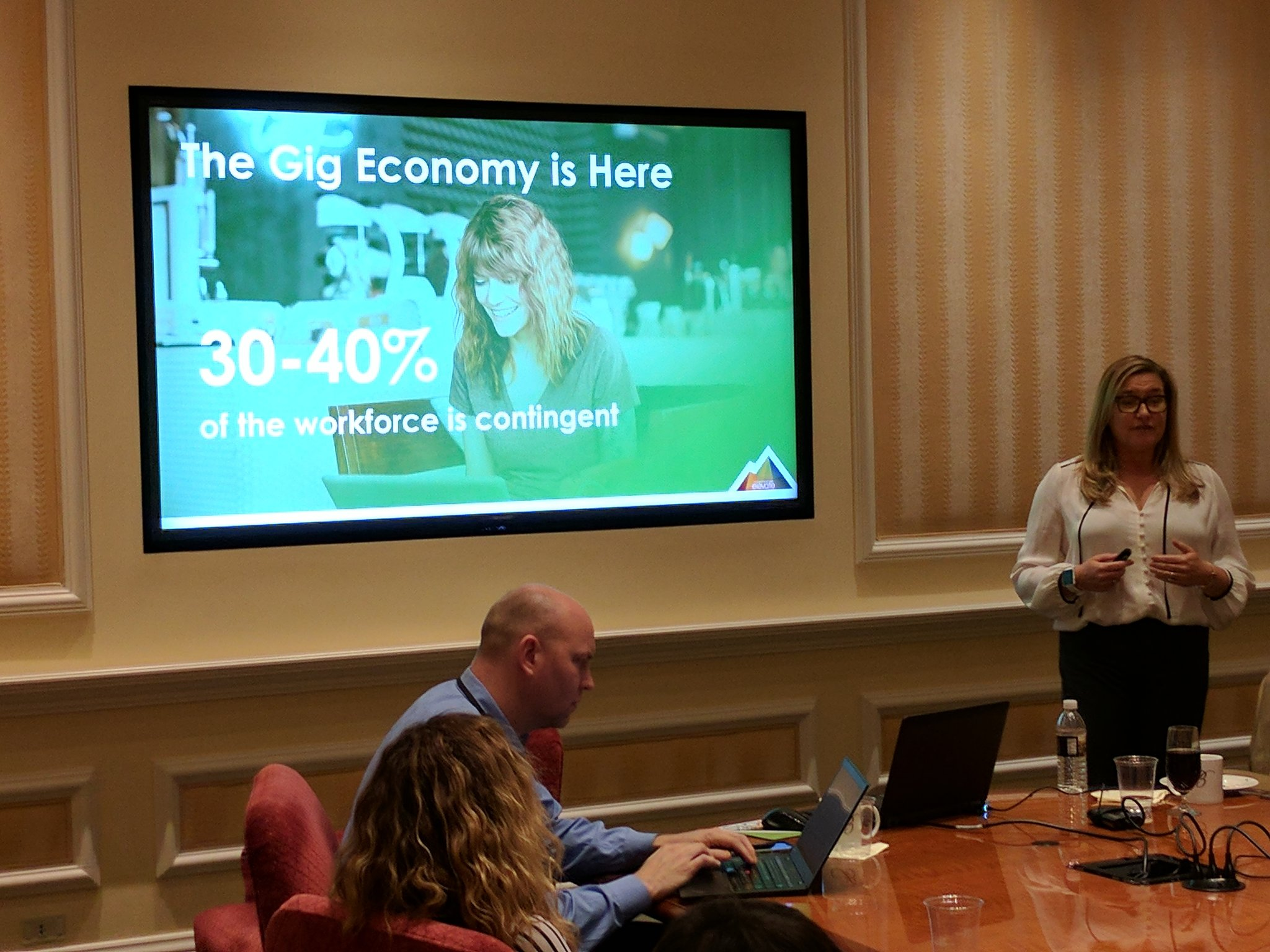 .@cecilehcm tackles the #gigeconomy - 30-40% of the workforce is going to be contingent. #Ulticonnect https://t.co/7FW03vbw9L
