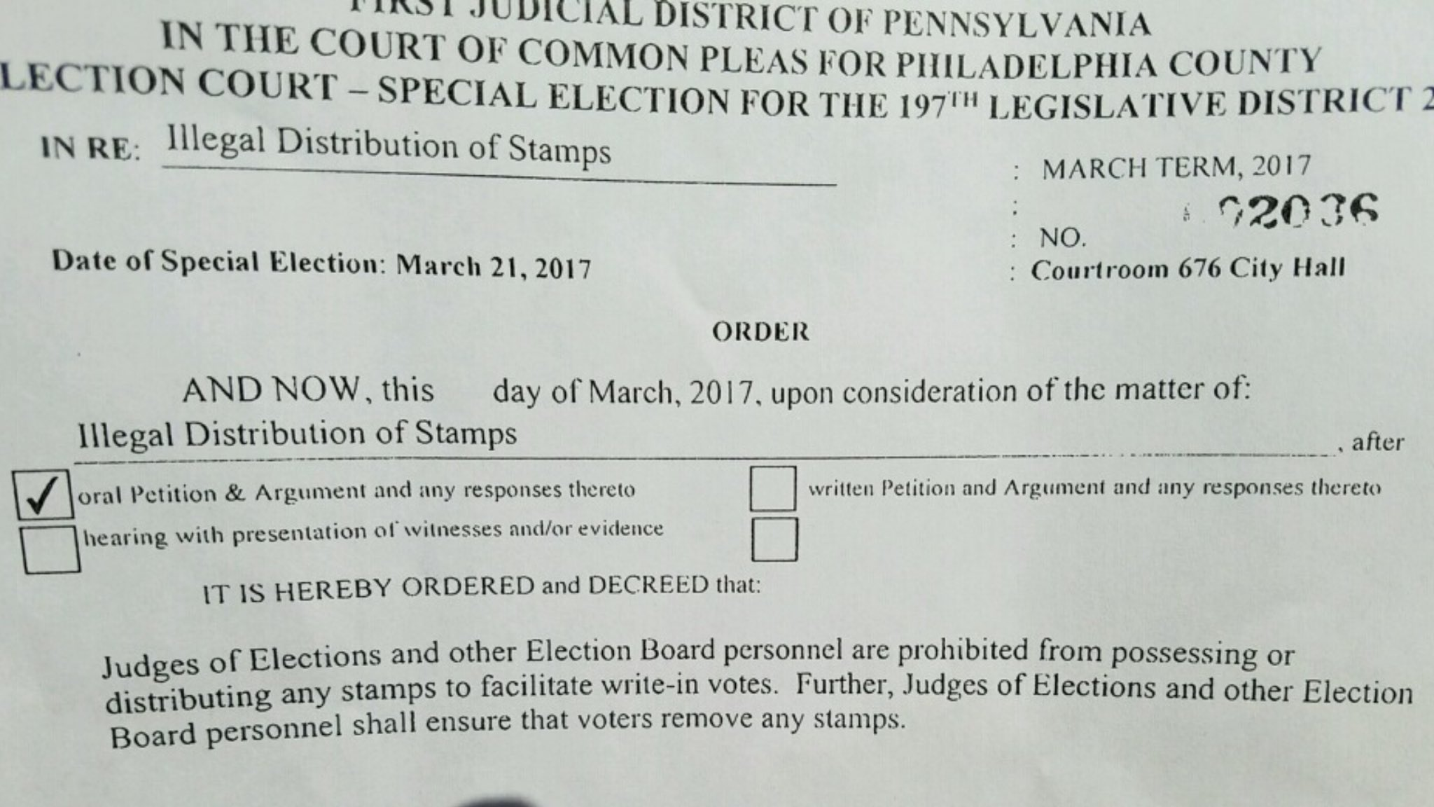 Judge is ordering election board personnel to ensure voters take the write-in stamps with them when they leave #197th @TheSpiritNews https://t.co/nTTXp6lxFm