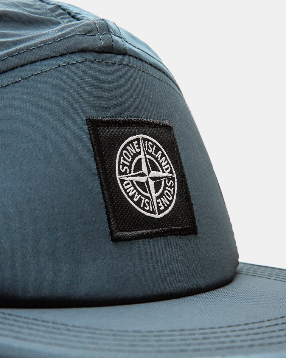 2e58bb3dba34c SHOP NOW  Stone Island Nylon Metal 5 Panel Caps in Avio Blue   Pink Quartz