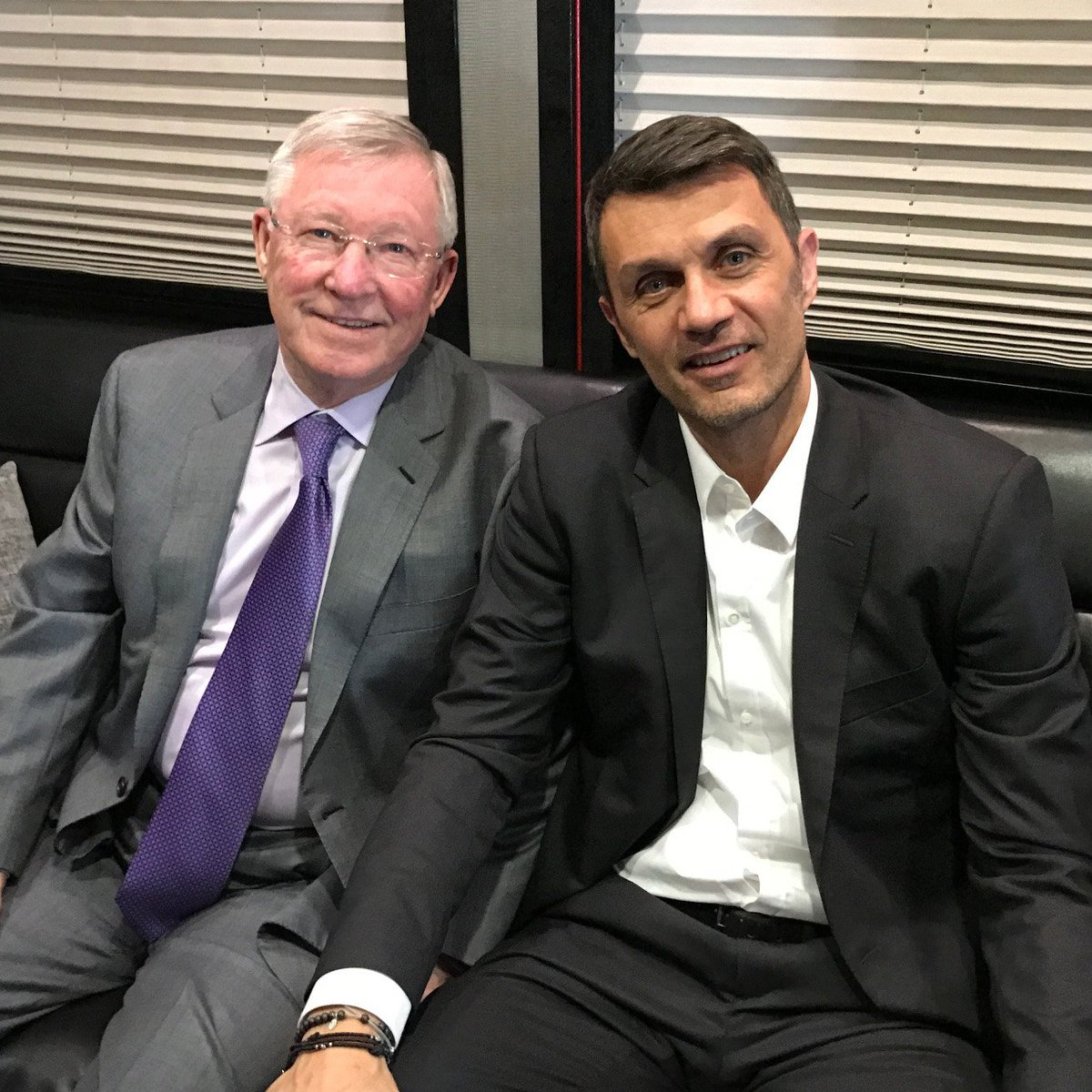 Legends.  Sir Alex Ferguson and Paolo Maldini catch up ahead of today'...