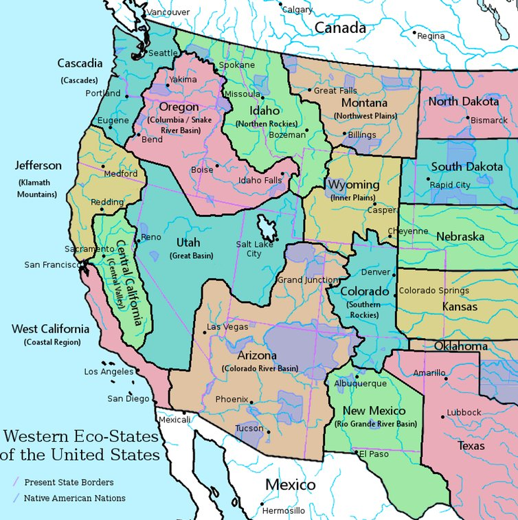 American Geo Society on Twitter Map of western US states if