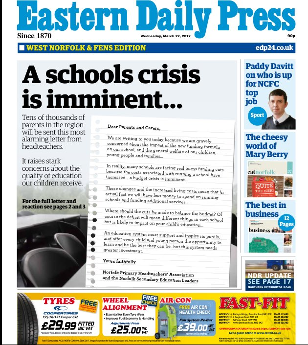 A very stark warning from school headteachers makes the front of @EDP24 #tomorrowspaperstoday @hendopolis https://t.co/Md6hSzsYVa