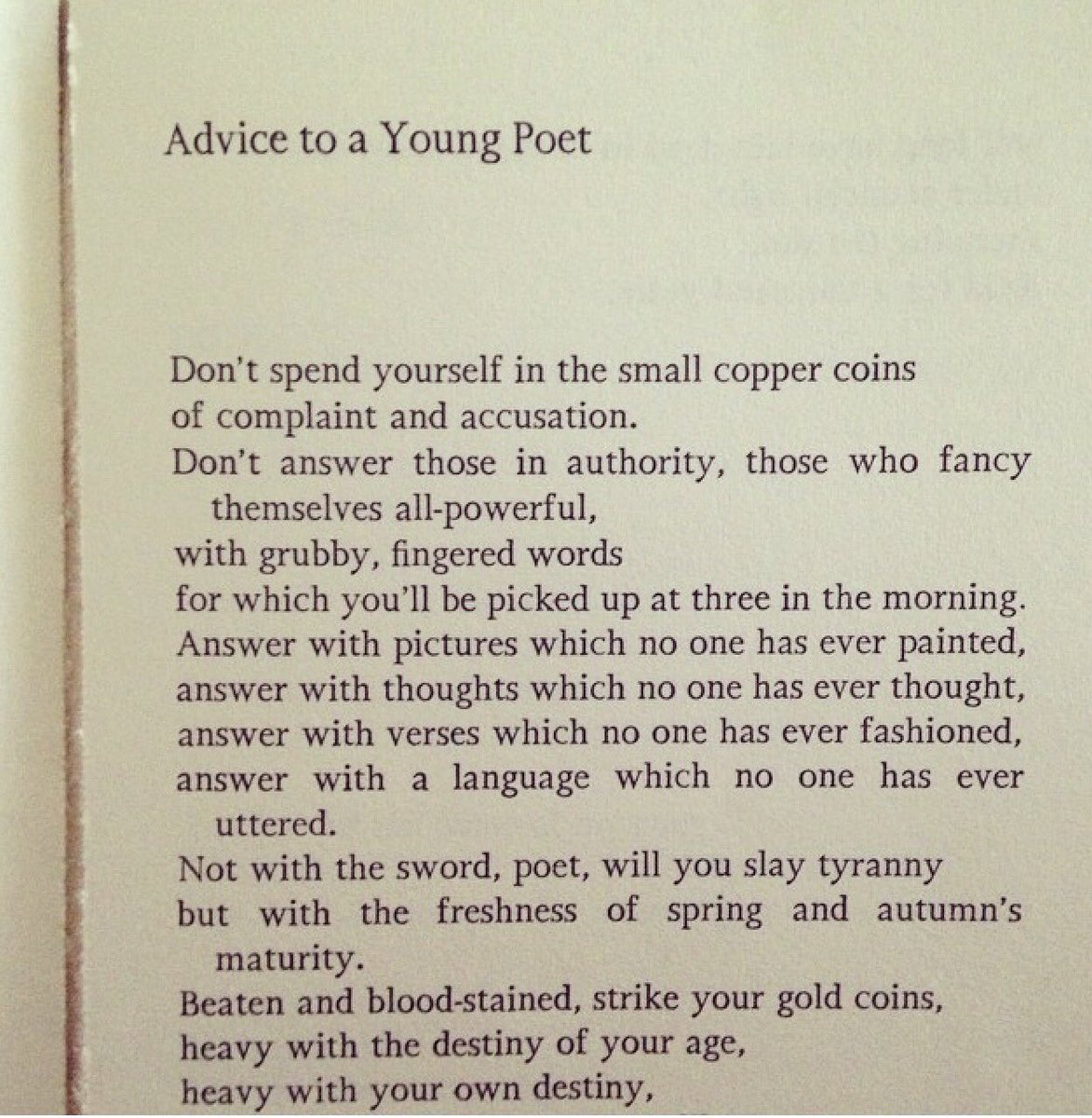 Advice to a Young Poet by Óndra Łysohorsky 🖤 'answer with verses which...