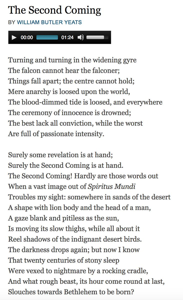 @LouiseMensch The Second Coming, by William Butler Yeats https://t.co/7xn7jt3ze1 #WorldPoetryDay https://t.co/GVX9QOiO9K