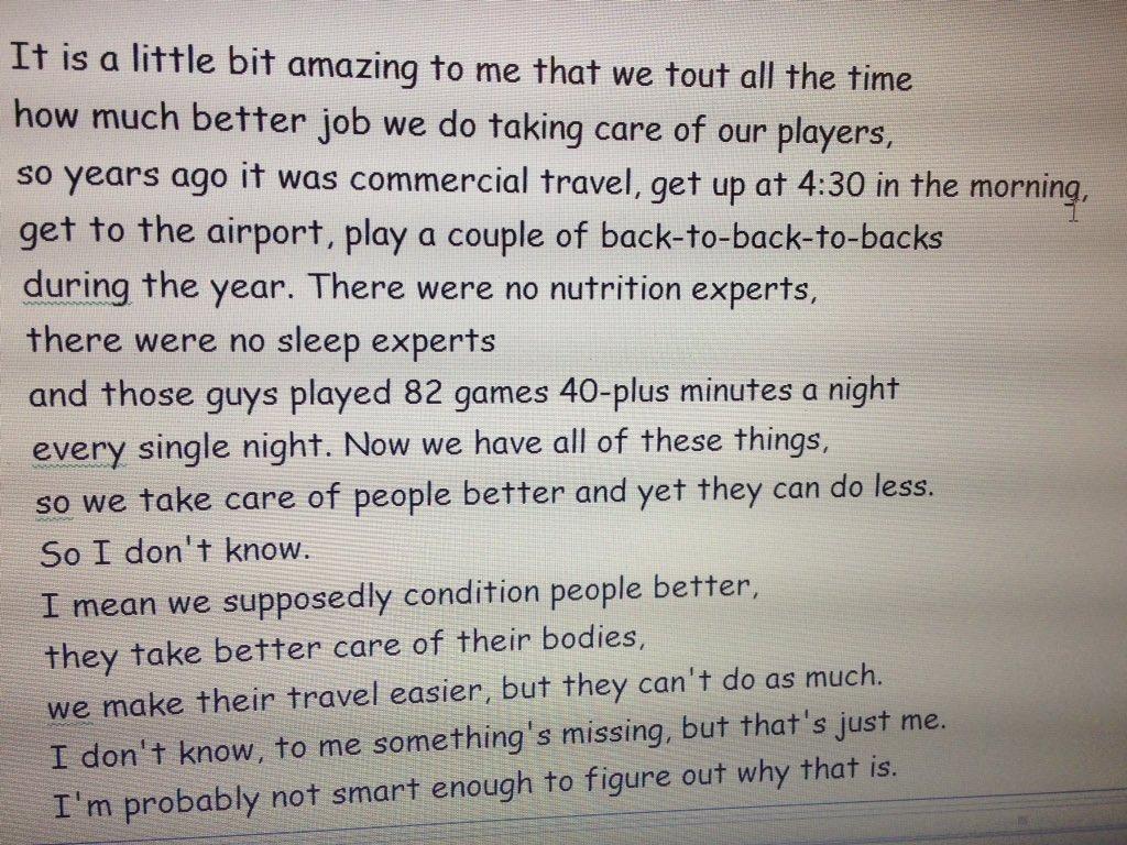 More Stan Van Gundy, on how we've all gone soft. https://t.co/qrNthRVODb