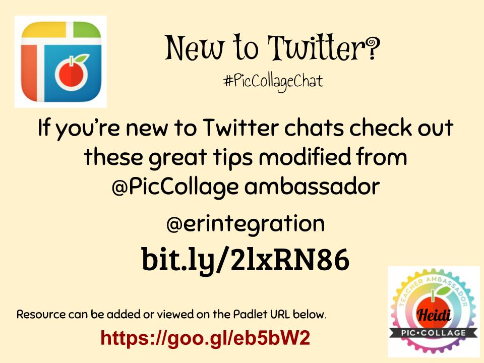 New to Twitter chats? Check out these tips modified from @PicCollage ambassador @erintegration https://t.co/ZBW2GorQ5l #PicCollageChat https://t.co/kiDVJk58SK